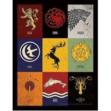 Game of Thrones Sigils 30x40 cm Framed Print