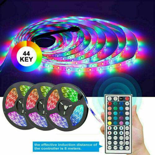 (15M with UK Plug) 5-15M RGB 3528 LED Strip Lights With IR Remote Back Light 12V Colour Changing UK