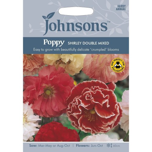 Johnsons Seeds - Pictorial Pack - Flower - Poppy Shirley Double Mixed - 1500 Seeds