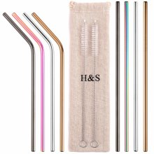 H&S 8 Metal Straws Reusable Coloured Stainless Steel Drinking Straws 2 Cleaning Brush Cleaner for Smoothie Hot Drinks with Bag Rainbow
