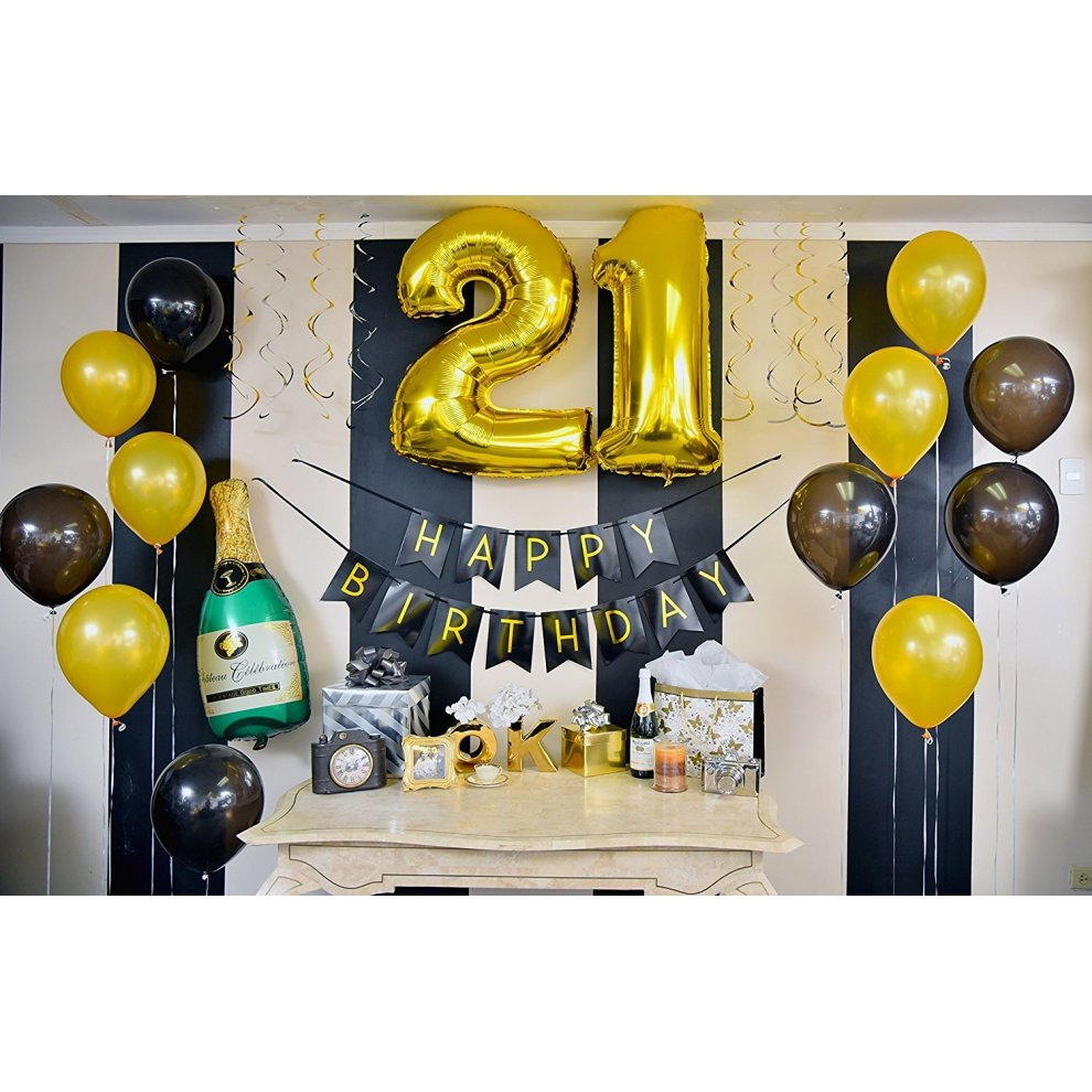 21st Birthday Decorations Black And Gold 21st Birthday Bunting Balloons Hanging Decorations