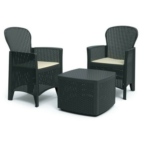 Rattan Garden Table and Chairs Set Set Of 2 Garden Chairs With Cushions & Table