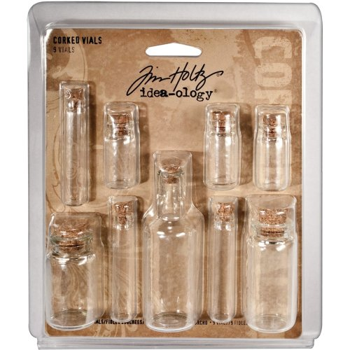 "Idea-Ology Corked Glass Vials 9/Pkg-Clear 1.25"" To 3"""