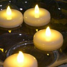 Large LED Flickering Tea Light, Christmas Table Display, Waterproof, Flame Free - WARM WHITE