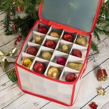 Home Treats Christmas Bauble Storage Box, Tree Storage Bags & Wrapping Paper Decoration Holder (64 Bauble Storage Box)