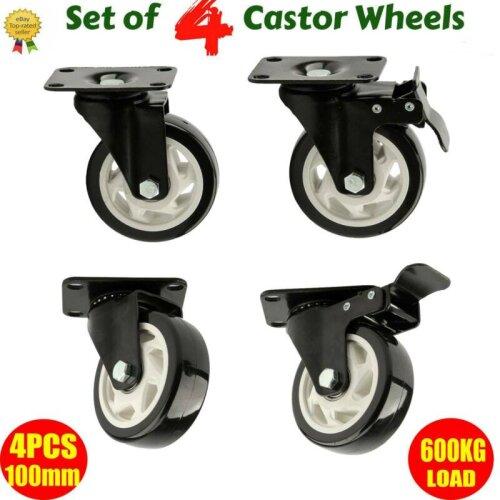 New Set of 4 Heavy Duty 100mm Rubber Swivel Castor Wheels Caster B