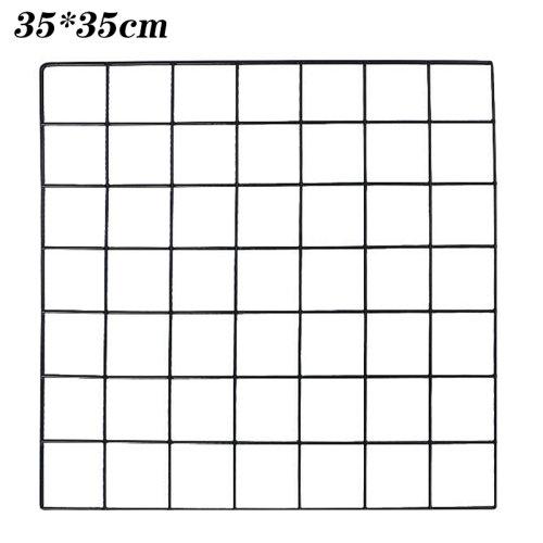 (Black, 35*35cm) Multi-Function Metal Mesh Grid Panel Photo Wall Decor Display Organizer