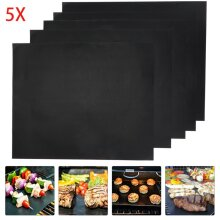 5x BBQ Grill Mat non-stick Oven Liners Teflon Cooking Baking Reusable