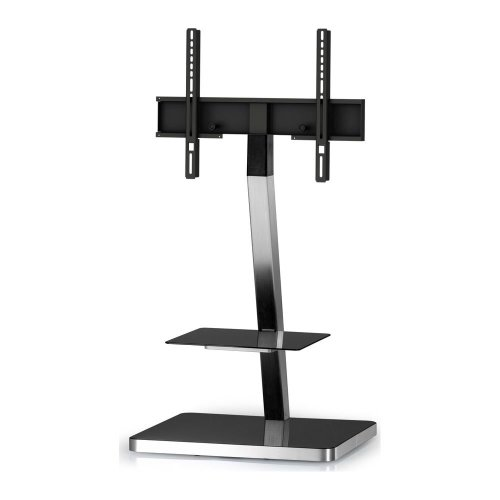 SONOROUS PL2710-BLK-SLV 600 mm TV Stand with Bracket - Black & Silver, Black
