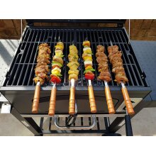 JD Europe Kebab BBQ Stainless Steel Skewers 6pcs with Wooden Handles