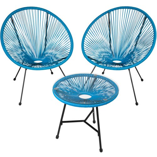 (blue) Set of 2 Gabriella chairs with table
