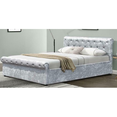 Celia Crushed Velvet Diamante Sleigh Bed with Charlotte Mattress