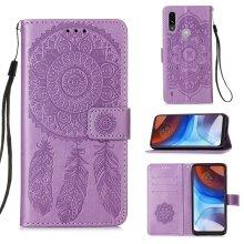 Premium PU Leather Motorola Moto E7 Power case Card Holder Purple