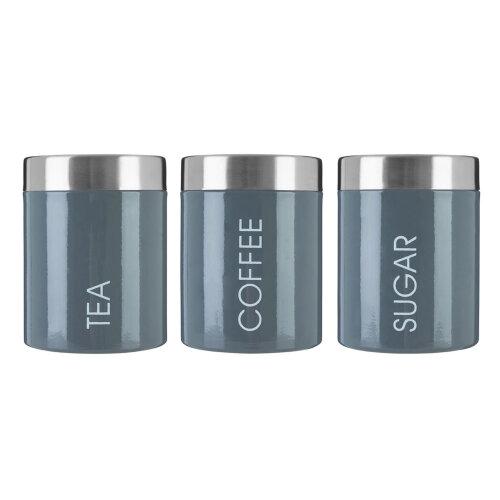Premier Housewares Tea Coffee Sugar Canisters Storage Jar Set of 3 Black Kitchen