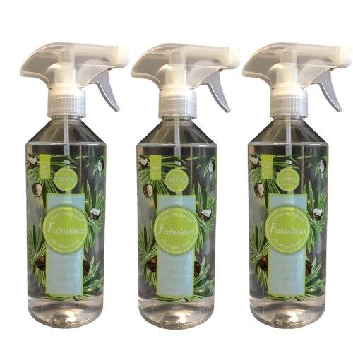 Fabulosa Disinfectant Spray Coconut 500 ml Vegan Three Pack Bundle