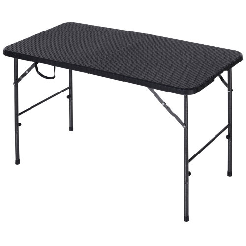 Outsunny Folding Camping Table Garden Backyards BBQ Picnic Table Black
