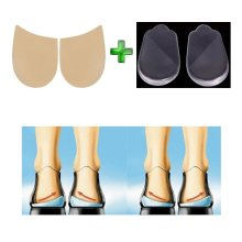 Orthopedic Insoles Shoe Inserts Medial & Lateral Heel Wedge Silicone Pads (2 Pairs Kit)