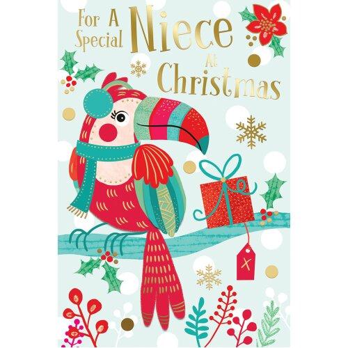For A Special Niece Toucan & Present Design Christmas Card Lovely Verse