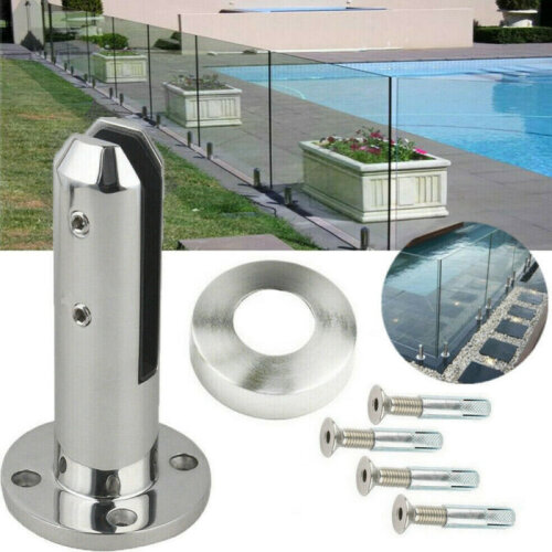 Round Stairs Balustrade Balcony Glass Spigot Pool Free Standing Durable Clamp