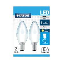 2 x Status 8watt Candle LED SBC B15 Small Bayonet Cap Opal Warm White Equivalent To 60 watt