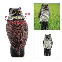 Realistic Owl Decoy Rotating Head Bird Pigeon Crow Scarer Scarecrow Action UK