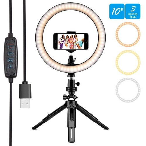 """LED Ring Light 10"""" with Tripod Stand & Phone Holder for Video Shooting"""