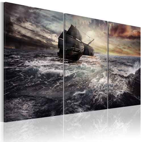 Canvas Print - Lonely ship on a high seas