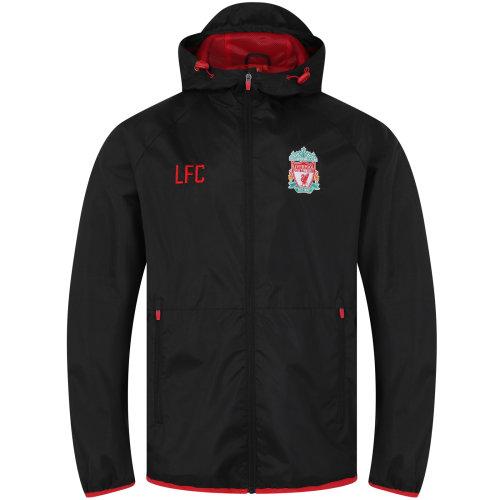 (Black Peak Hood, Large) Liverpool FC Official Football Gift Mens Shower Jacket Windbreaker