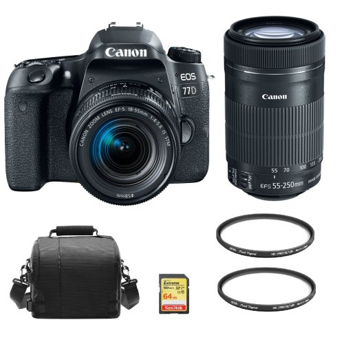 CANON 77D 18-55mm IS STM+55-250mm IS STM+64GB SD card+Bag+Protector