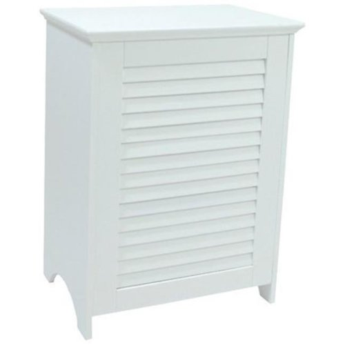 Redmon 5208WH Contemporary Country Louvered Front Hamper, White