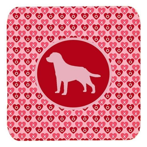 Labrador Valentine Hearts Foam Coasters - Set 4, 3.5 x 3.5 In.