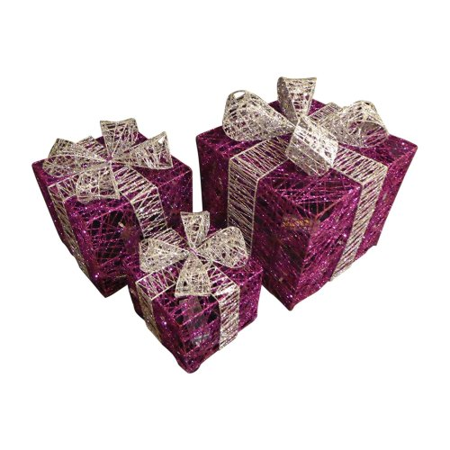 UK-Gardens Large Glitter Purple And Silver Light Up Christmas Parcels Set With LED Lights Indoor Outdoor Decorations - Battery Operated