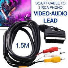 SCART To 3 RCA Composite Phono Video Adapter In Out Switch Converter