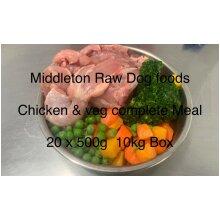 Dog Food Frozen Chicken & veg complete meal 20x500g bags 10kg box