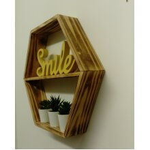 RUSTIC SCORCHED PINE HEXAGON SHELF BY WHATKNOTS