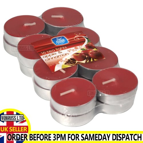 (Apple & Cinnamon) Tea Light Candles Various Fragrances 16 Pack gift