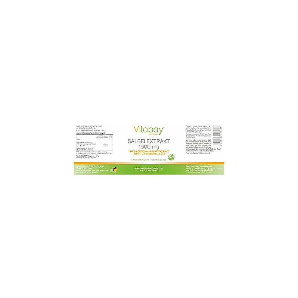 Salbei Extrakt 1900 Mg Blattextrakt Salvia Officinalis 2/% Essentielle ÖLe 90 Veg
