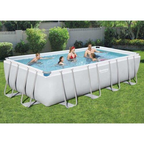 Bestway Power Steel Swimming Pool Set Rectangular Pond Ladder Garden Backyard