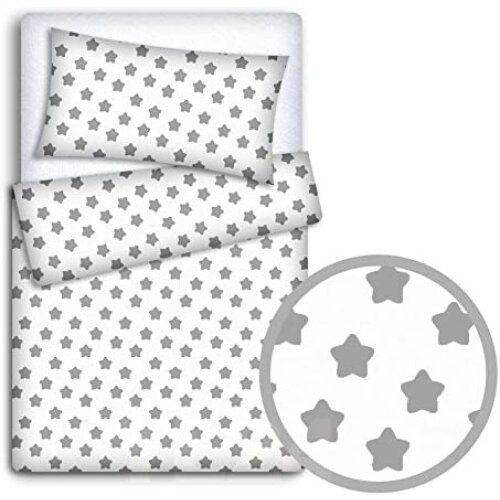 Baby Bedding Set Pillowcase Duvet, Cot Bedding Grey And White Stars