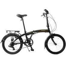 "Ammaco 20"" Wheel Folding Bike 7 Speed Lightweight Alloy Black/Gold"