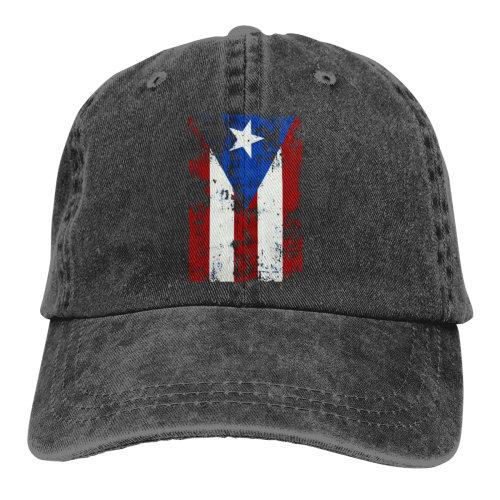 Vintage Puerto Rico Flag Denim Baseball Caps