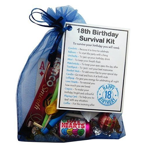 18th Birthday Survival Kit Gift - Novelty 18th gift for him BLUE Bag