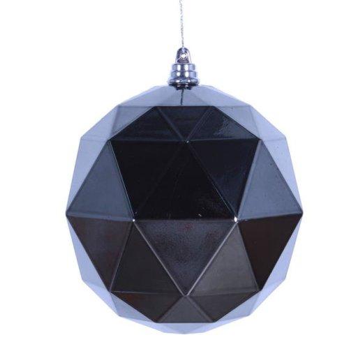 Vickerman M177587DS 8 in. Pewter Shiny Geometric Christmas Ornament Ball