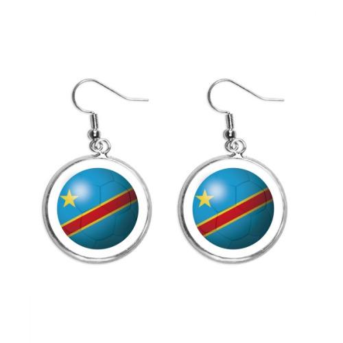Congo National Flag Soccer Football Ear Dangle Silver Drop Earring Jewelry Woman