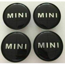 MINI WHEEL CENTRE CAPS ALLOY HUB BADGE EMBLEM BLACK LOGO 54mm x 4