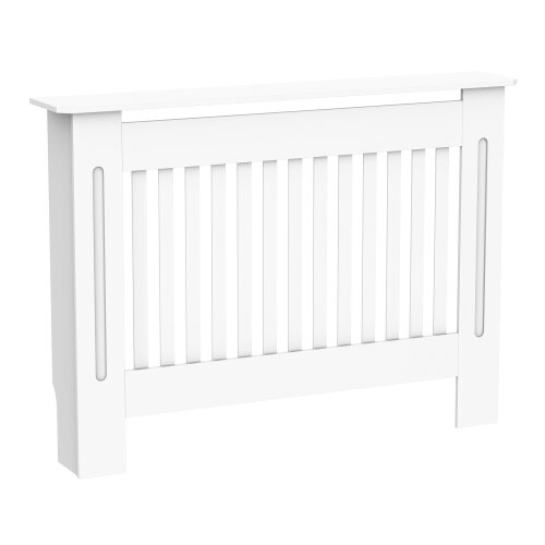 HOMCOM Radiator Cover Painted Slatted MDF Cabinet Lined Grill