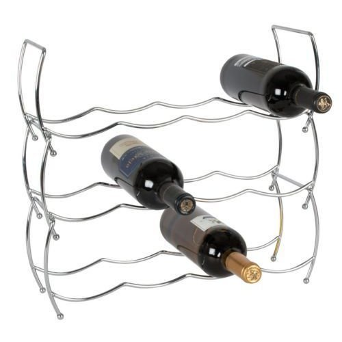 Geezy 12-Bottle Stackable Chrome Wine Rack | 3-Tier Wine Storage