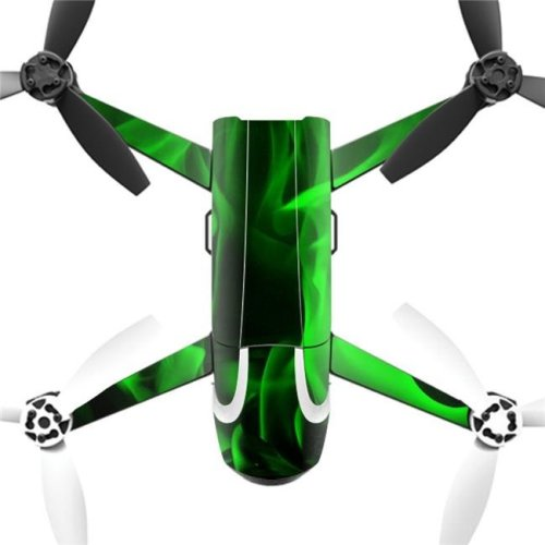 MightySkins PABEBOP2-Green Flames Skin Decal Wrap for Parrot Bebop 2 Quadcopter Drone - Green Flames