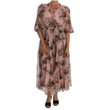 Silk Pink Bengal Cat Shift Wrap Gown
