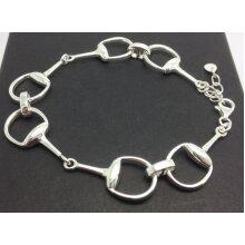 Snaffle horse bit bracelet, solid Sterling Silver.